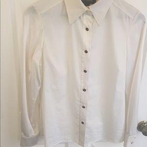 St John collared button up blouse cream shirt 4 S